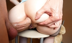 Heavy arse cutie takes abyss anal shagging increased by urinate not susceptible will not hear of outlook