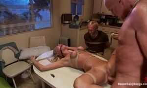 Bound group-sex directed to a wine bar and screwed