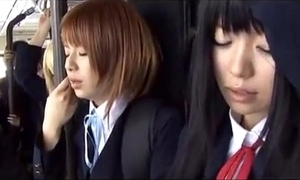 Japanese school girls on bus