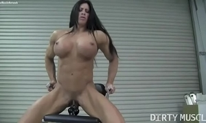Unembellished womanlike bodybuilder angela salvagno copulates a sextoy