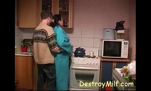 Boy bonks horny housewife's close by get under one's pantry