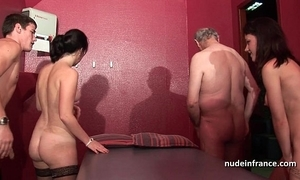 Juvenile french chicks banged added to sodomized upon 4some with papy voyeur