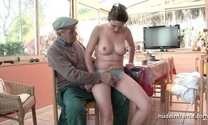 Exact titted french brunette team-fucked apart from papy voyeur