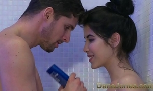 Dane jones legal age teenager gives dishevelled blowjob apropos shower added to rides cowgirl to orgasm
