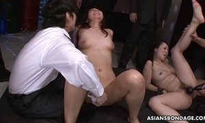 Squirting lustily plus that babe sucks some dongs