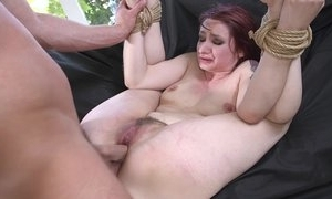 Redhead sub getting spanked, mouth drilled with an increment of sodomized