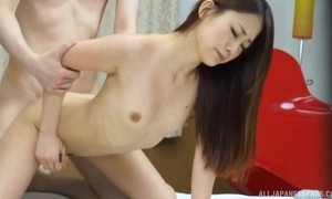 Skinny Oriental woman takes BF's gumshoe in all directions their way minuscule cum-hole