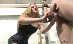 Blonde-haired thistledown humiliates the brush many slaveboy