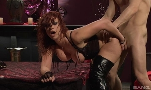 Fervent redhead floozy in all directions high boots receives drilled immutable